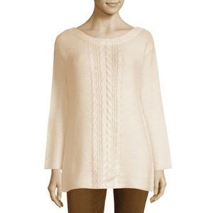 NWT Liz Claiborne Women Knit Sweater Size M Cream